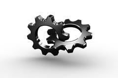 连接镀铬物嵌齿轮和轮子 库存照片