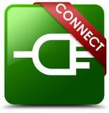 连接绿色方形的按钮 免版税库存图片