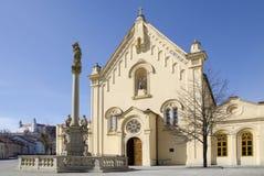 连斗帽女大衣教会在布拉索夫,斯洛伐克 免版税图库摄影