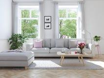 连栋房屋的现代客厅 3d翻译 免版税库存图片
