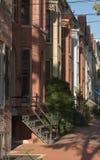 连栋房屋邻里在弗雷德里克 免版税库存照片