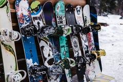 连续休息的雪板 免版税图库摄影