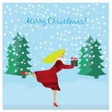 连续女孩在手上的拿着圣诞节礼物 圣诞节概念 库存例证
