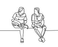 连续的一两个人线描坐并且谈话 向量例证
