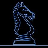 连续的一条线霓虹棋骑士象概念 皇族释放例证