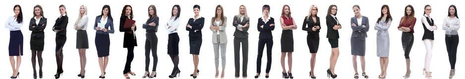 连续站立小组成功的年轻的女实业家 库存图片