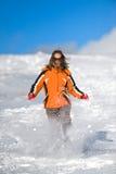 连续雪妇女 图库摄影