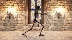连续骨骼的无缝的动画在一座神秘的城堡的 库存例证