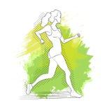 连续妇女 线型的传染媒介例证 上色体育海报、印刷品或者横幅马拉松的 免版税图库摄影