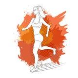 连续妇女 线型的传染媒介例证 上色体育海报、印刷品或者横幅马拉松的 免版税库存照片