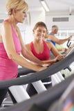 连续机器的妇女在个人教练员鼓励的健身房 免版税库存照片