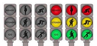 连续步行者的红绿灯 免版税图库摄影