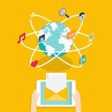 连续电子邮件竞选,电子邮件广告的Marceting概念, 库存图片