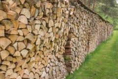 连续被堆积的木柴 库存图片