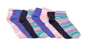 连续被计划的几只不同的妇女` s袜子 库存图片