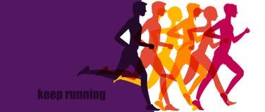 连续马拉松,人奔跑,五颜六色的baner 库存照片