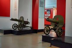 迟来的 对战争的布雷斯特入口堡垒主要纪念品 布雷斯特堡垒英雄的防御博物馆的展览  第二个世界W的机枪 库存照片