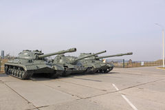 迟来的 米斯克 苏联坦克是3和在博物馆斯大林线的国际滑联100 免版税库存图片