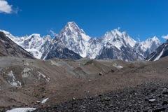 迦舒布鲁姆断层块山,喀喇昆仑山脉, K2艰苦跋涉, P 免版税库存照片
