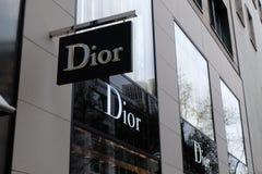 迪奥商店商标在法兰克福 库存照片