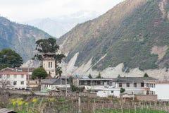 迪庆,中国- 2015年3月17日:Cizhong村庄 著名西藏人v 免版税图库摄影