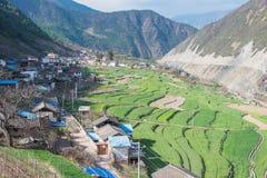 迪庆,中国- 2015年3月17日:Cizhong村庄 著名西藏人v 库存图片