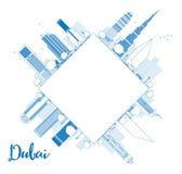 迪拜与蓝色摩天大楼和拷贝空间的市地平线 免版税库存照片