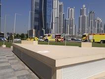 迪拜企业海湾大厦灭火器 库存照片