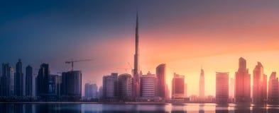 迪拜企业海湾,阿拉伯联合酋长国全景  免版税图库摄影