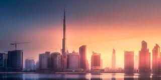 迪拜企业海湾,阿拉伯联合酋长国全景  图库摄影