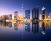迪拜企业海湾,阿拉伯联合酋长国全景  库存照片