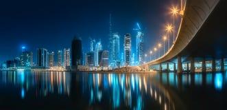 迪拜企业海湾,阿拉伯联合酋长国全景  库存图片