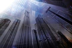 迪拜商业中心大厦 企业和财务概念的两次曝光背景 图库摄影