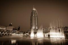 迪拜在迪拜购物中心的喷泉展示 免版税库存照片