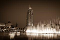 迪拜在迪拜购物中心的喷泉展示 图库摄影