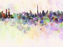 迪拜地平线在水彩背景中 免版税库存图片