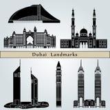迪拜地标和纪念碑 库存图片