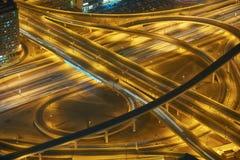 迪拜夜skylin 库存图片