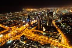迪拜如被看见从Burj哈利法在晚上 图库摄影
