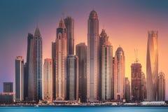 迪拜小游艇船坞从棕榈Jumeirah,阿拉伯联合酋长国的海湾视图 图库摄影