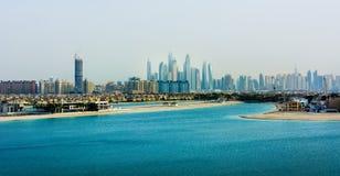 迪拜小游艇船坞全景从棕榈Jumeirah海岛的 免版税图库摄影