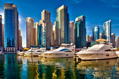 迪拜小游艇船坞在阿拉伯联合酋长国 库存照片