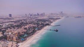 迪拜小游艇船坞地平线夜对从Burj Al的天 影视素材