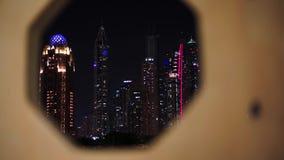 迪拜小游艇船坞夜光照明 股票录像