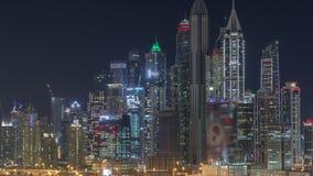 迪拜小游艇船坞摩天大楼和高尔夫球场夜timelapse,迪拜,阿拉伯联合酋长国 影视素材