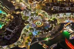 迪拜小游艇船坞步行顶视图 免版税库存图片