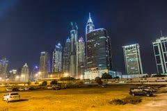 迪拜小游艇船坞都市风景,阿拉伯联合酋长国 库存图片