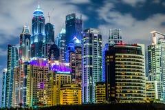 迪拜小游艇船坞都市风景,阿拉伯联合酋长国 免版税图库摄影