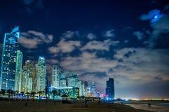 迪拜小游艇船坞都市风景,阿拉伯联合酋长国 库存照片