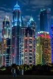 迪拜小游艇船坞都市风景,阿拉伯联合酋长国 免版税库存照片